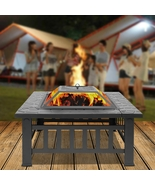 Portable Courtyard Metal Fire Bowl with Accessories Black - $124.95