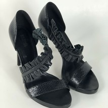 Michael Kors Womens High Heels Size 8.5 M Ruffle Detail Open Toe Black - $54.00