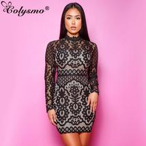 Colysmo 2019 Elegant Hollow Out Lace Dress Women  Sexy Slim Bodycon Penc... - $44.30