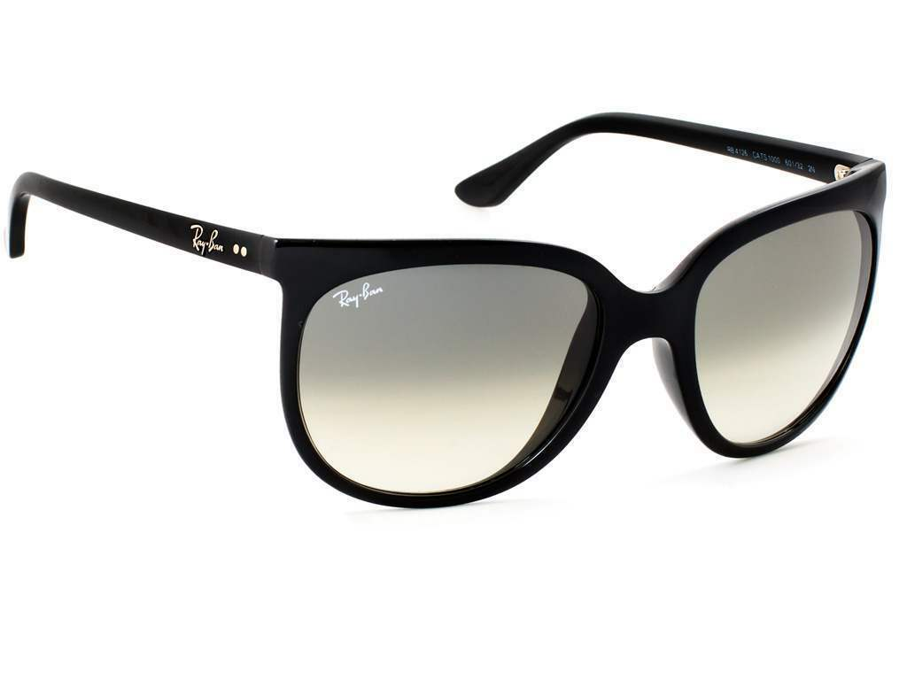 Neuf Ray-Ban Cats 1000 RB 4126 601/32 Poli Noir avec / Gris Inclinaison 57 mm -