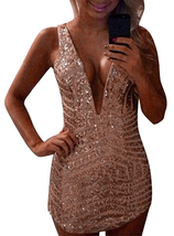 Mini Evening Party Dress - Sequins / V Neck / Sleeveless image 2