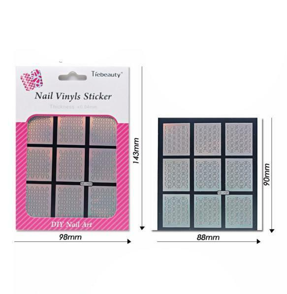 24 Sheets Laser Nail Art Guide Tips Hollow Stencil Sticker Template Vinyls Decor image 2