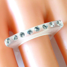 Frosted Acrylic Ring Single Row Large Swarovski Elements Crystal On Raised Top - $14.00