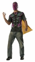 Medium - Adult's Mens Avengers Vision T-Shirt with Cape and Mask Costume... - $18.99