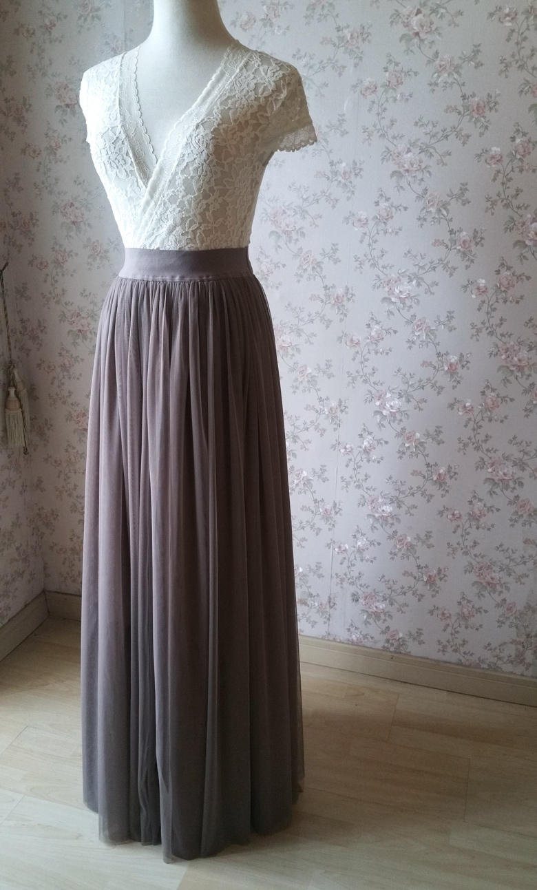 Maxi skirt tulle coffee 780 4