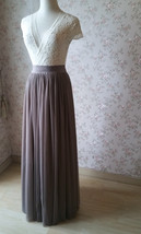 Women Full Tulle Skirt High Waist Bridesmaid Wedding Tulle Skirt,taupe(US0-US28) image 4