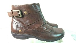 Clarks Brown Leather Side Zip Ankle Boots Women's Size 8.5 W - $39.58