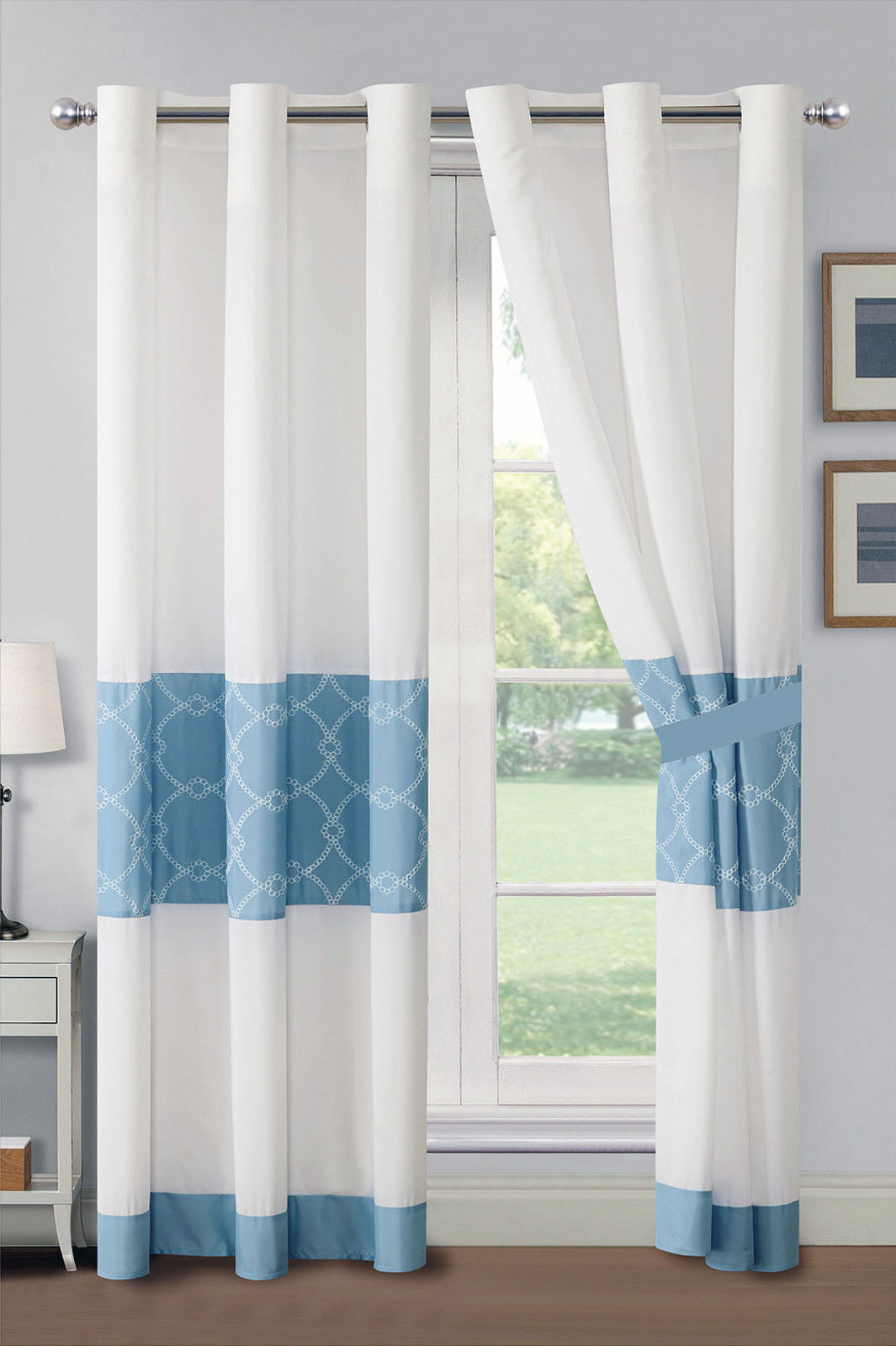 Primary image for 4-Pc Azora Floral Circle Trellis Embroidery Curtain Set Blue Off-White Grommet