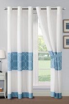 4-Pc Azora Floral Circle Trellis Embroidery Curtain Set Blue Off-White G... - $40.89