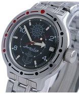 Vostok Amphibian Classic Military Russian Diver Watch Zissou Navy Black 420526 - $69.65