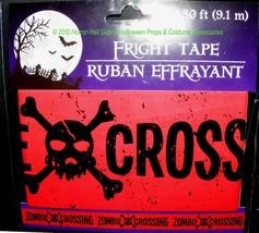 Gothic-Skull & Crossbones--ZOMBIE CROSSING--Fright Caution Tape-Party De... - $73,66 MXN