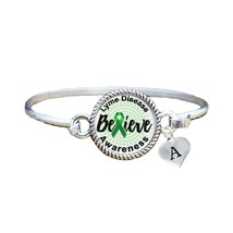 Custom Lyme Disease Awareness Believe Silver Bracelet Jewelry Choose Ini... - $13.80+