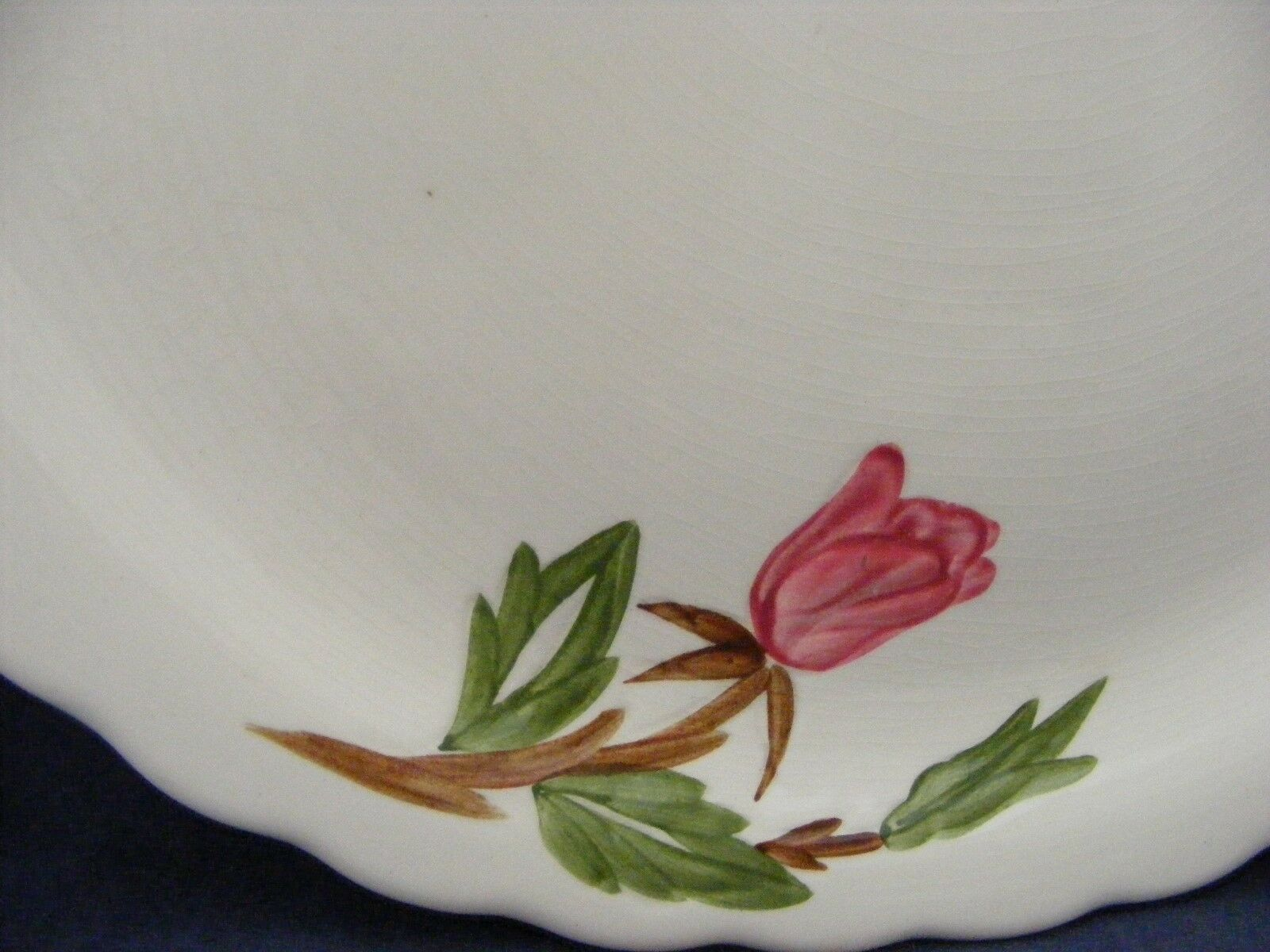 Continental Kilns Green Arbor Pink Magnolia Handled Platter Hand Painted