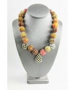 ESTATE Jewelry DESIGNER SIGNED HAND BEADED & PORCELAIN ACCENT NECKLACE - $55.00