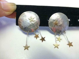 Vintage Hand Wrought Silver Moon Dangling Gold Stars Sterling Silver Ear... - $37.99
