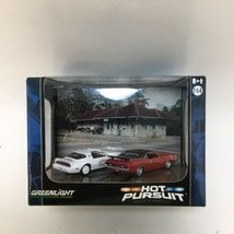 Greenlight 1978 Pontiac Trans Am Dodge Challenger Hot Pursuit 2 Car Diorama New - $24.74