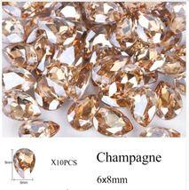 HS Garden - 10pcs Champagne Drop Water Nail Art Rhinestones Crystal 6x8 mm - $2.64