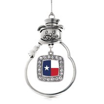 Inspired Silver Texas Flag Classic Snowman Holiday Decoration Christmas Tree Orn - €12,80 EUR