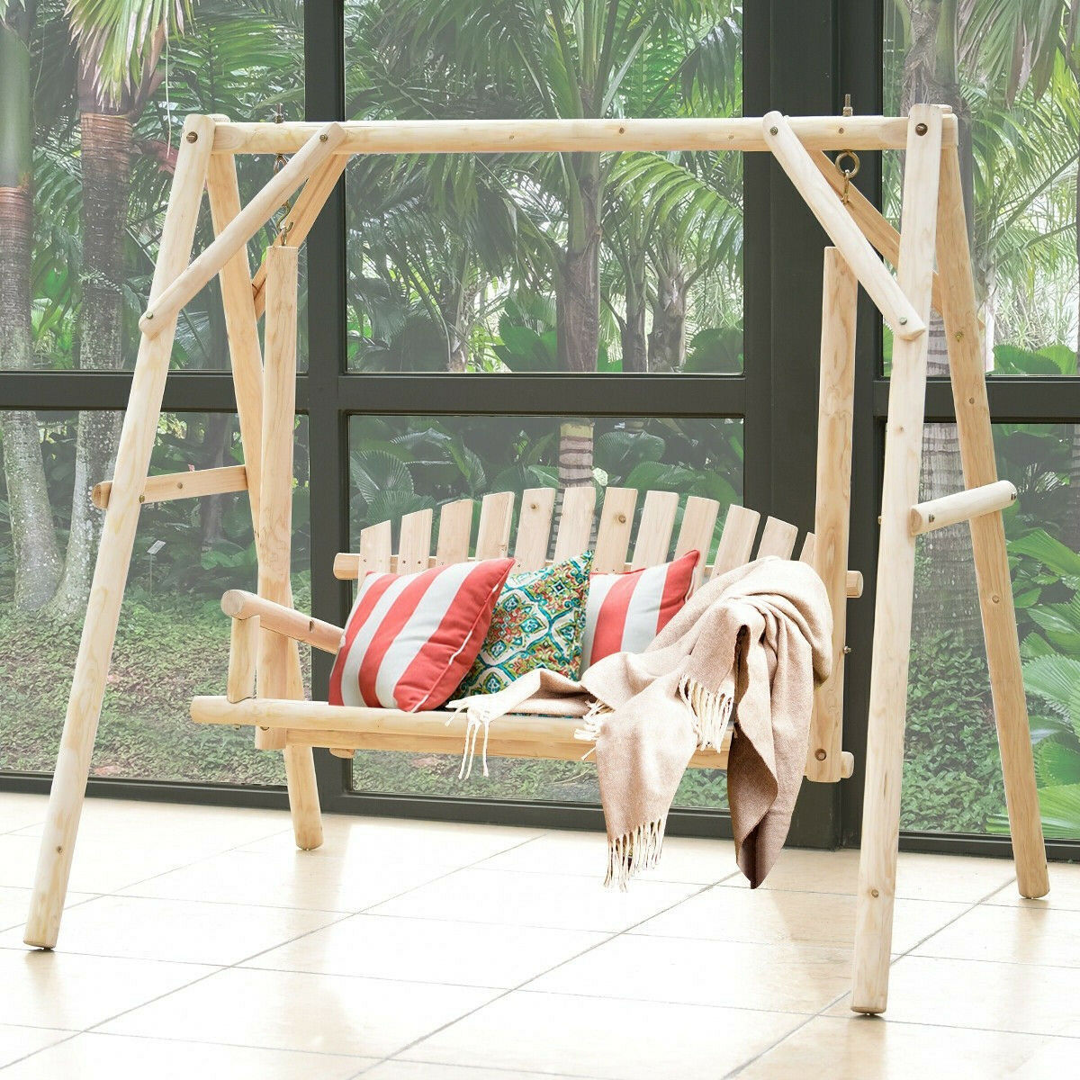 Patio Swing with Stand Rustic Natural Wood Hanging Bench Porch 2 Seater Glider