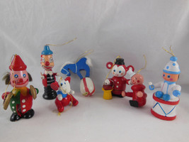 Lot of 7 Vtg Wood Wooden Circus Clowns Horse Elephant Christmas Ornaments - $17.32