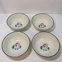 "4 Soup Cereal Bowls Snow Village Pflatzgraff Snowman Christmas 6.25"" - $19.34"