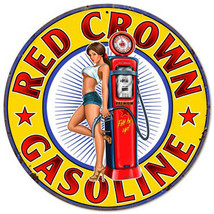 Red Crown Gasoline Pin-Up Metal Sign - $29.95