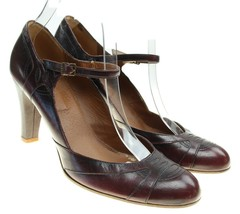 VTG MARC JACOBS Womens Brown Leather Ankle Strap Pumps Heels Sz 8.5 Italy - $38.60