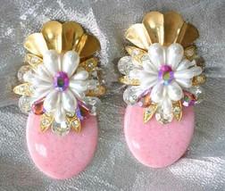 Faux Pearl & Iridescent Rhinestone Pink Gold-tone Clip Earrings 1980s vi... - $14.20