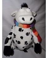 Gund Lilly Cow 46626 HO' 08 Plush Stuffed Animal Rainbow Scarf Black White - $25.27