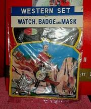 Old Vintage Kids 1950's WESTERN Toy SET Watch Badge & Mask Lone Ranger S... - $12.00