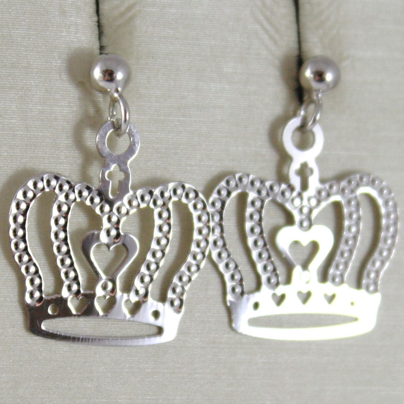 18K WHITE GOLD PENDANT CROWN EARRINGS, LENGTH 0.8 INCHES, MADE IN ITALY