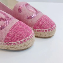 100% Authentic NEW Chanel Pink Sequin Slip On CC Logo Espadrilles Shoes Flats 37 image 3