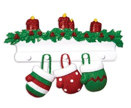 Red & Green Mitten Family of 3 Personalized Christmas Ornament - $12.80