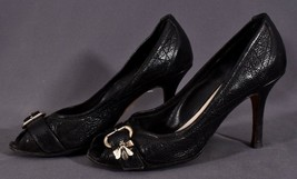 Christian Dior Vintage Quilted Leather Metal Bees Brooch Heels Shoes Size US 6.5 - $85.49