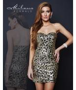 Milano Formals E1668 Gold Sequins on Black Strapless Party Mini Dress 8 - $96.03