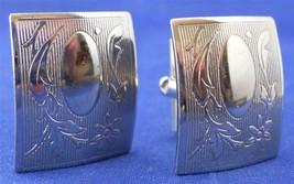 Vintage Cufflinks Silver Tone Metal Victorian Leaf Vine Design Rectangular - $12.86