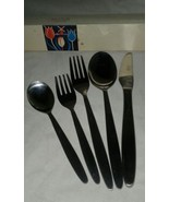 Amefa Tulip Time 5 Pc Holland Stainless Steel Satin Handle Black Accent ... - $15.99