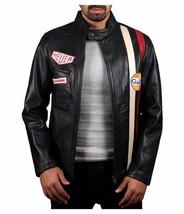 Steve McQueen Le Mans Driver Grandprix Gulf Black Leather Jacket - $69.29+