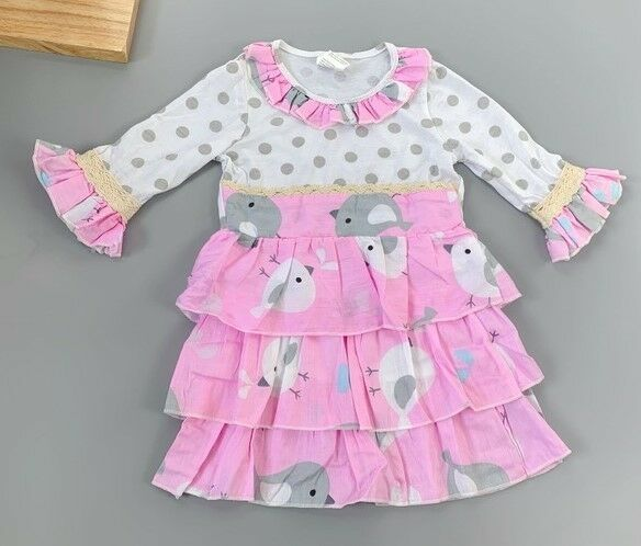 Primary image for NEW Girls Boutique Bird Long Sleeve Pink Ruffle Dress 2-3 3-4 4-5 5-6 6-7 7-8