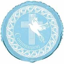 "Blue Dove Cross Foil Mylar Round Balloon Party ""Communion"" - $2.99"