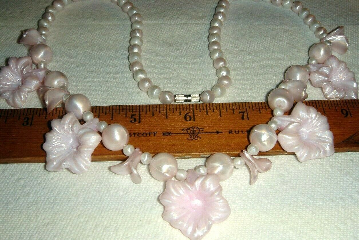 VTG STEAMPUNK PRINCESS PINK CELLULOID LUCITE FLOWER NECKLACE CLIP EARRING SET