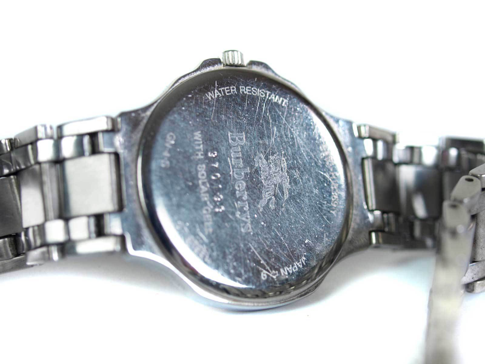 Auth BURBERRYS Date Black Dial Stainless Steel Men's Solar Cell Watch