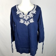 JM Collection Top Blouse Shirt 14 Blue Navy Linen Beaded Embellished 3/4... - $13.48
