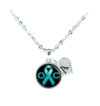 Custom Ovarian Cancer Awareness Teal Ribbon Silver Necklace Jewelry Initial - $13.94