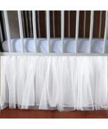WHITE Tulle Lined Ruffled Crib Skirt / Mini Crib Skirt - $39.99+