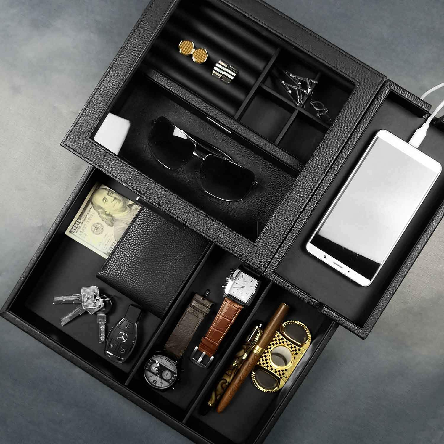 Lifomenz Co Mens Jewelry Box Valet Tray With Drawer And ...