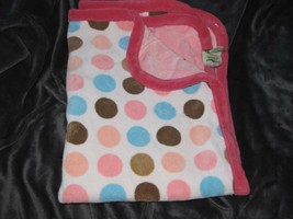 "Silver One Baby Blanket Pink Plush Peach Brown Blue Dots 30""x40"" minky Soft - $39.59"