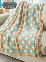 Z636 Crochet PATTERN ONLY Tunisian Argyle Throw Afghan Pattern - $8.50