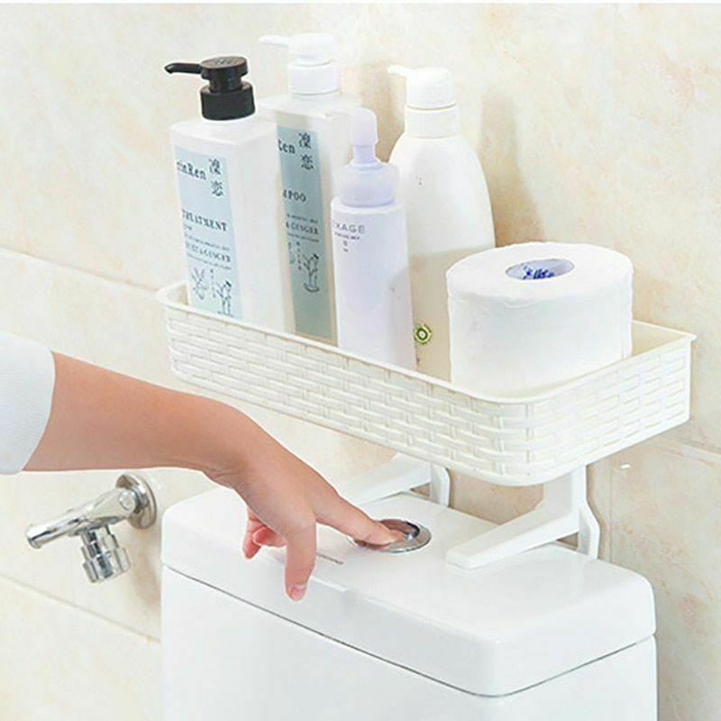 Wall Mounted Plastic Storage Rack Suction Bathroom Kitchen Shelf Basket Holder image 2