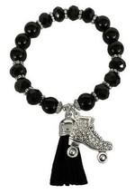 Roller Skate Derby Black Glass & Stone Beaded Tassel Stretch Bracelet Jewelry - $15.83
